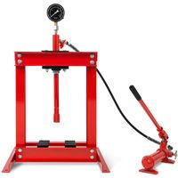 Presse datelier 6t avec manomètre (2 mors, rentrée automatique du piston, hauteur de travail 355 mm, largeur de travail 425 mm) hydraulique