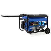 2200 Watt Générateur électrique (Châssis, 5,5 CV Moteur à essence 4 temps, Refroidi à lair, 2x 230V, 1x 12V, Régulateur de tension automatique AVR, Alarme manque dhuile, Voltmètre)