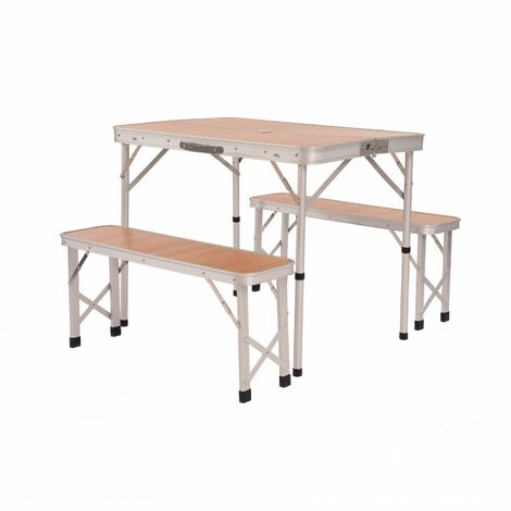 Oypla 3ft Folding Outdoor Camping Kitchen Wood Effect Work Top Table and Benches