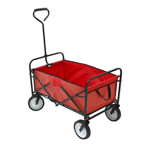 Oypla Red Heavy Duty Foldable Garden Trolley Folding Cart Wagon Truck Wheelbarrow