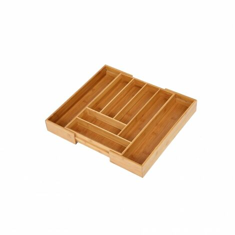 Oypla 6-8 Compartment Bamboo Wooden Extending Cutlery Tray Drawer Organiser