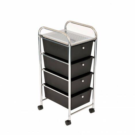 Oypla 4 Drawer Storage Mobile Makeup Salon Trolley Portable Storage Organiser