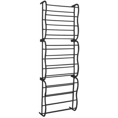 Oypla Black 36 Pair Over Door Hanging Shelf Shoe Rack Storage Organiser