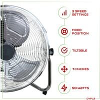 "Oypla Electrical 14"" Inch Chrome 3 Speed Floor Standing Gym Fan Hydroponic"