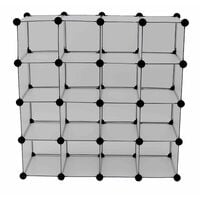Oypla Interlocking 16 Compartment Shoe Organiser Storage Cube Rack White