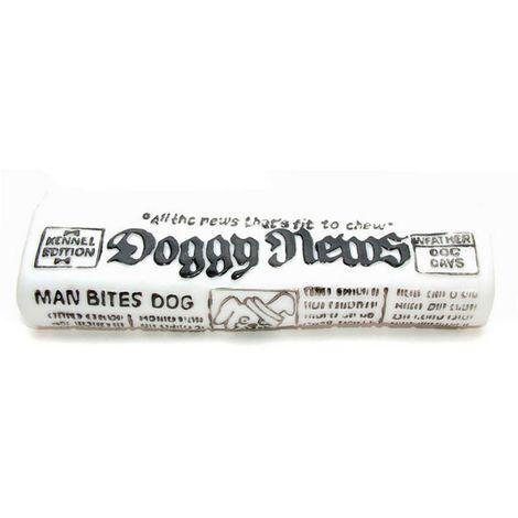 Caldex Classic Dog Newspaper Squeak Toy (One Size) (White/Black)