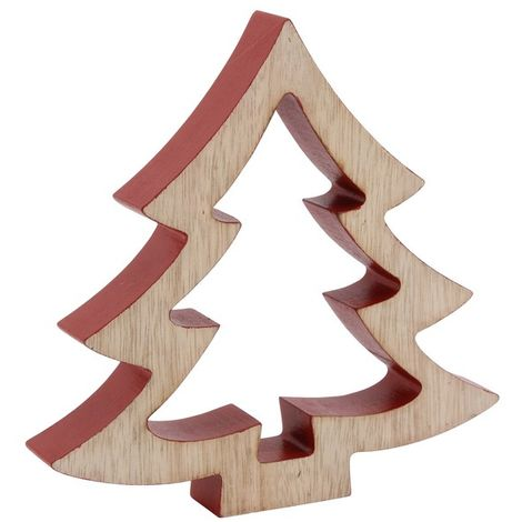 CGB Giftware Large 3D Wooden Tree Ornament (One Size) (Beige/Red)