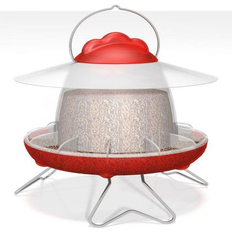 Feathers and Beaky Chicken Feeder (One Size) (Red/White)