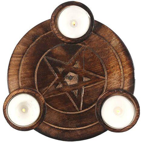 Pentagram Tea Light Holder (One Size) (Wood)