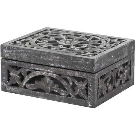 Hill Interiors Lustro Antique Look Wooden Box (One Size) (Grey/Silver)