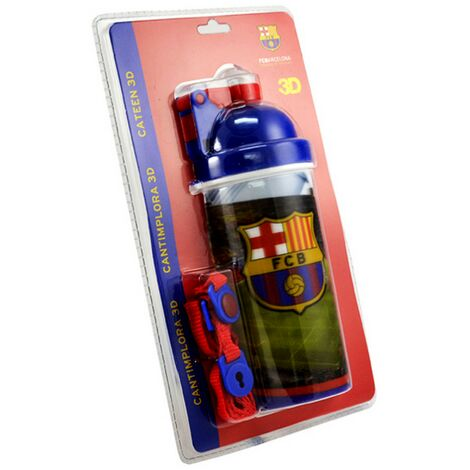 FC Barcelona Official 3D Football Crest Water Bottle (One Size) (Multicoloured)