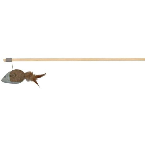 Trixie Mouse Feather Cat Teaser Toy (One Size) (Cream/Brown/Grey)