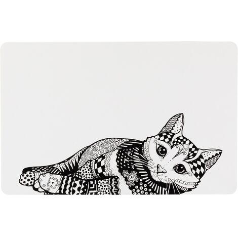 Trixie Cat Place Mat (One Size) (White/Black)