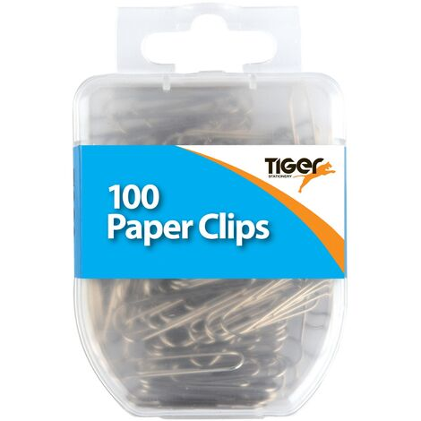 Tiger Stationery Paper Clips (Pack of 100) (One Size) (Silver)