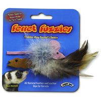 Superpet Fuzzie Feather & Leather Ferret Toy (One Size) (Grey)