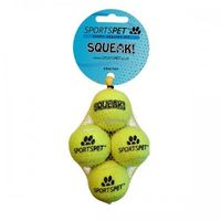 Sportspet Mini Tennis Ball With Squeaker (Pack Of 4) (One Size) (Yellow)