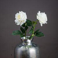 Hill Interiors Garden Rose Artificial Flower (One Size) (White/Green)