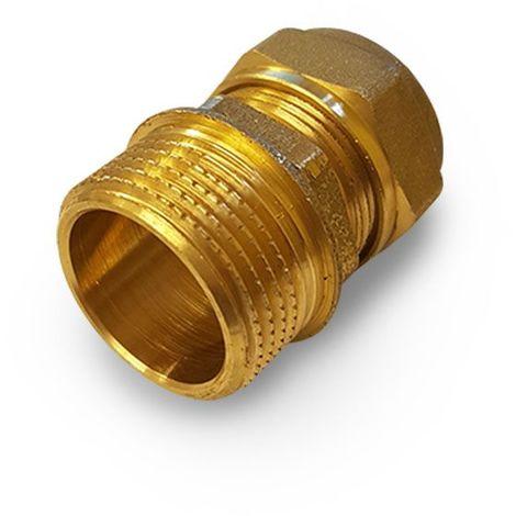 """Raccord droit à compression, écrou et ogive pour tube cuivre 16 x 3/4"""" M"""