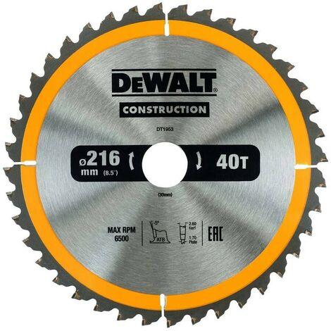 DEWALT DT1953-QZ - Hoja para sierra circular estacionaria 216x30mm 40D ATB -5º