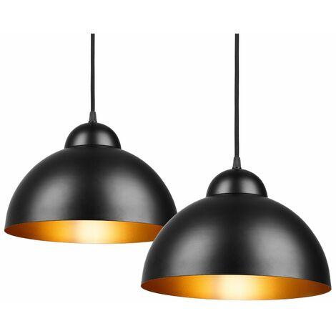 Pasa el ratón por encima de la imagen para ampliarla Etiqueta de eficiencia energética Deuba Lámpara de Techo Industrial vintage Ø 30cm 2 unidades colgante bombillas E27 retro de metal para comedor café salón