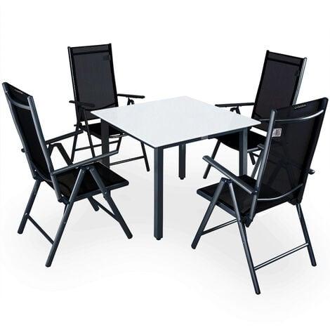 Casaria 4+1 Conjunto de mesa y sillas plegables de aluminio mesa 90x90cm vidrio esmerilado muebles de jardín Set terraza Antracita - Antracita