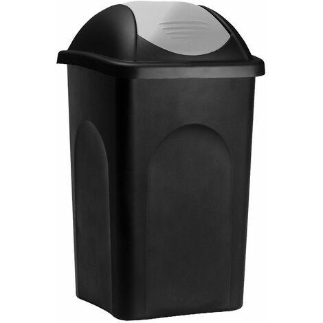 Stefanplast Cubo de basura de 60L con tapa extraíble basurero para cocina Plástico Polipropileno 68x41x41cm fácil de limpiar Negro / plata - Negro / plata