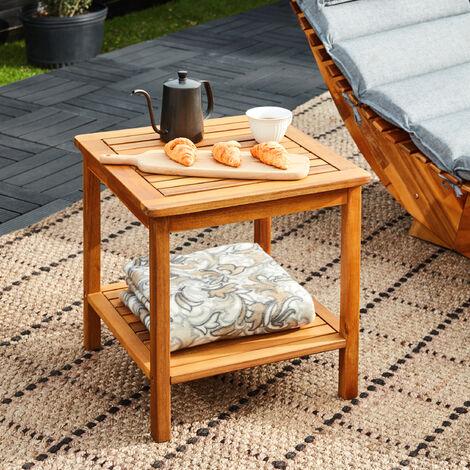 Deuba mesa auxiliar aceitada mesa de centro de madera de acacia mesita de jardín salón 45x45x45 cm mesa de café de patio