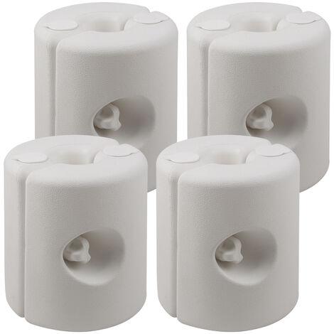 Deuba Conjunto de 4 soportes de peso para pabellón pies estables resistentes a la intemperie blanco Polietileno carpa cenador