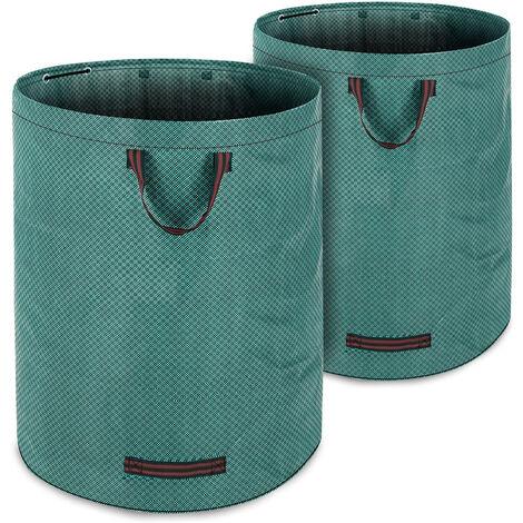 Deuba 2 x Bolsas de basura saco para desechos para jardín Verde 280 L hasta 50Kg 3 asas plegable doble costura robusto