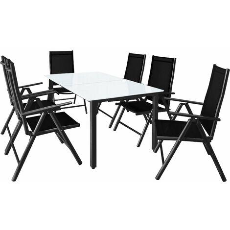 Casaria Conjunto de 1 Mesa y 6 sillas de Aluminio Bern con respaldo reclinable Muebles de jardín patio terraza balcón Antracita - Antracita