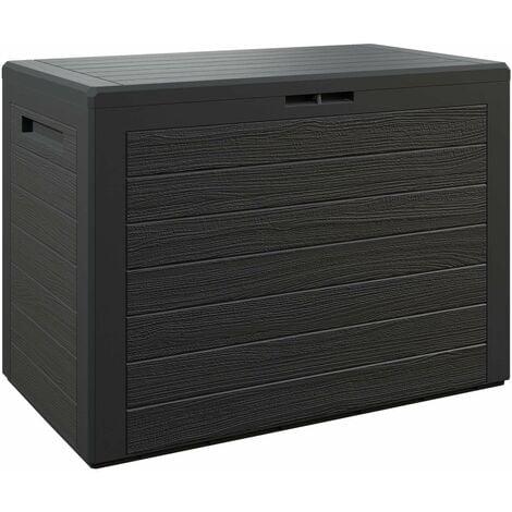 """Baúl para cojines """"Lille"""" caja de almacenamiento cofre de Plástico para almohadas Arcón de jardín balcón balcón exterior Antracita"""