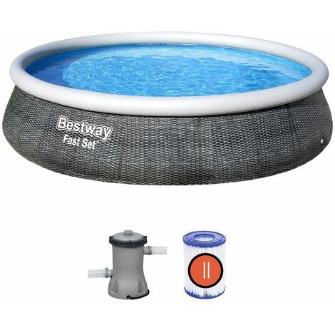 Bestway Piscina Fast Set 13' x 33 Set de piscina con aspecto de ratán 3,96m x 84cm