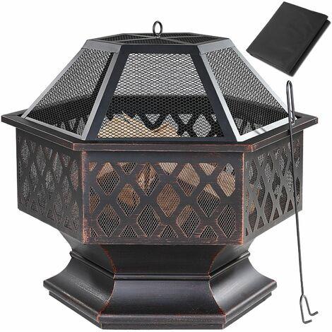 Gardebruk Brasero exterior hoguera hexagonal calentador quemador cubierta protectora 70x60,5cm para jardín patio terraza