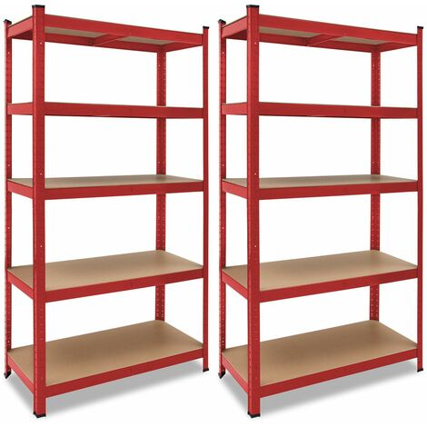 Deuba 2x Estanterías de metal Rojo 5 niveles Almacenamiento - Bricolaje 180x90x40 cm Carga máxima de 875kg taller garaje