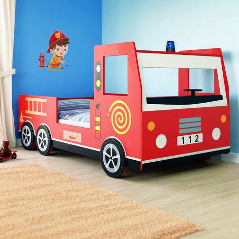 Cama infantil diseño moderno de coche de bomberos 200x90cm de Madera ruedas en 3D con sirena volante somier