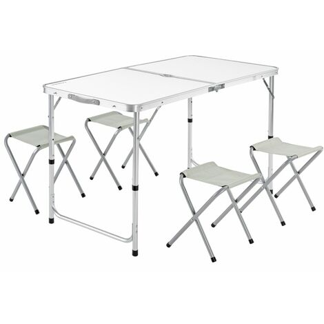Casaria Mesa de aluminio plegable XXL 4 taburetes plegables función de maleta Camping transporte fácil Gris/Blanco jardín Blanco