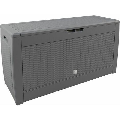 Deuba Baúl de almacenaje cofre con capacidad de 310L arcón banco interior exterior - modelo a elegir Aspecto ratán - Gris