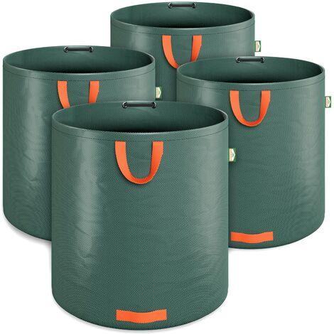 4 x Bolsas de Basura de jardín sacos para desechos 2000L con 4 asas plegables reutilizables por bolsa 50Kg jardinería