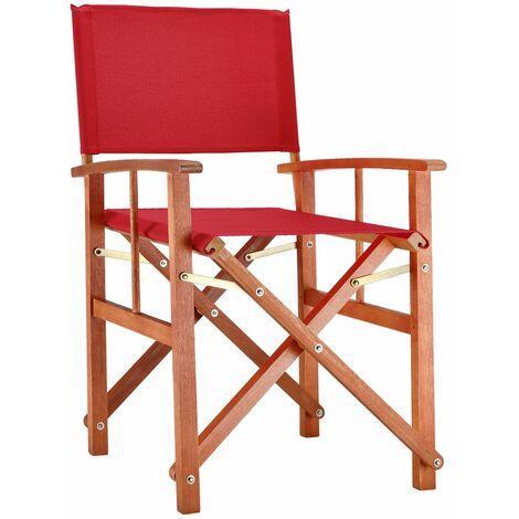 """Deuba Silla plegable """"Cannes"""" de madera de eucalipto con fundas extraíbles lavables Silla de jardín director color Rojo - Rojo"""