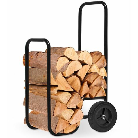 Deuba Carretilla para troncos de madera Negro para la chimenea transporte de madera 56x45x105cm dos ruedas carga máx 80kg