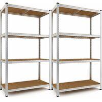 Deuba 2x Estanterías metálicas para cargas pesadas 4 niveles Almacenaje - Bricolaje 170x75x30 cm Carga máxima de 280kg