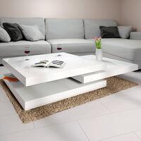 Deuba Mesa de centro moderna Mesa de café lacada con bandejas giratorias a 360° - Varios colores Blanco - 60 cm - Blanco - 60 cm