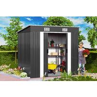 Deuba Cobertizo de metal de 3,35m³ Antracita con aeración en la cumbrera y base almacenaje exterior de jardín almacén