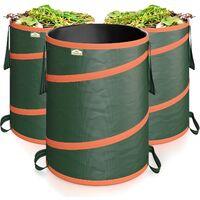 Gardebruk 3x Bolsas de basura saco para desechos de jardín Verde 30Kg función pop up 165L = 495L doble costura jardinería