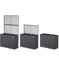 Casaria Macetero con enrejado rectangular macetas jardín plantas rosas balcón Poliratán jardinería interior exterior Negro - Negro
