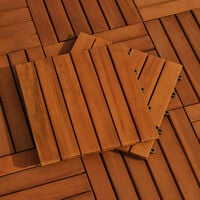 Deuba Set de 33 Baldosas de madera de Acacia 30x30cm 3m² Loseta para suelo de terraza balcón área de piscina