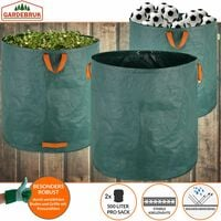 2 x Bolsas de Basura de jardín sacos para desechos 1000L con 4 asas plegables reutilizables por bolsa 50Kg jardinería