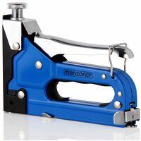 Monzana Grapadora manual 3en1 1500 piezas grapas y clavos fuerza de impacto ajustable para madera manualidades reparaciones