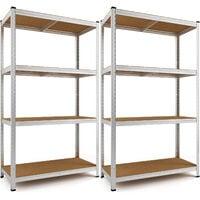 Deuba Set de 2 estanterías metálicas con 4 Estantes de almacenamiento Carga máxima 700 kg 160x90x40cm para taller garaje