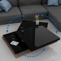 Deuba Mesa de centro moderna Negro brillante Mesa de salón con bandejas giratorias a 360°